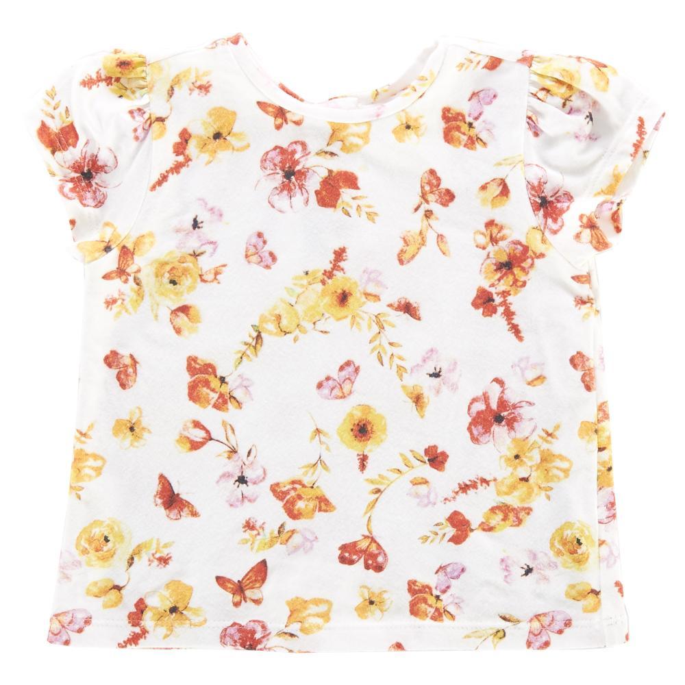 Tricou maneca scurta, copii, Chicco, imprimeu floral, fete, 06247