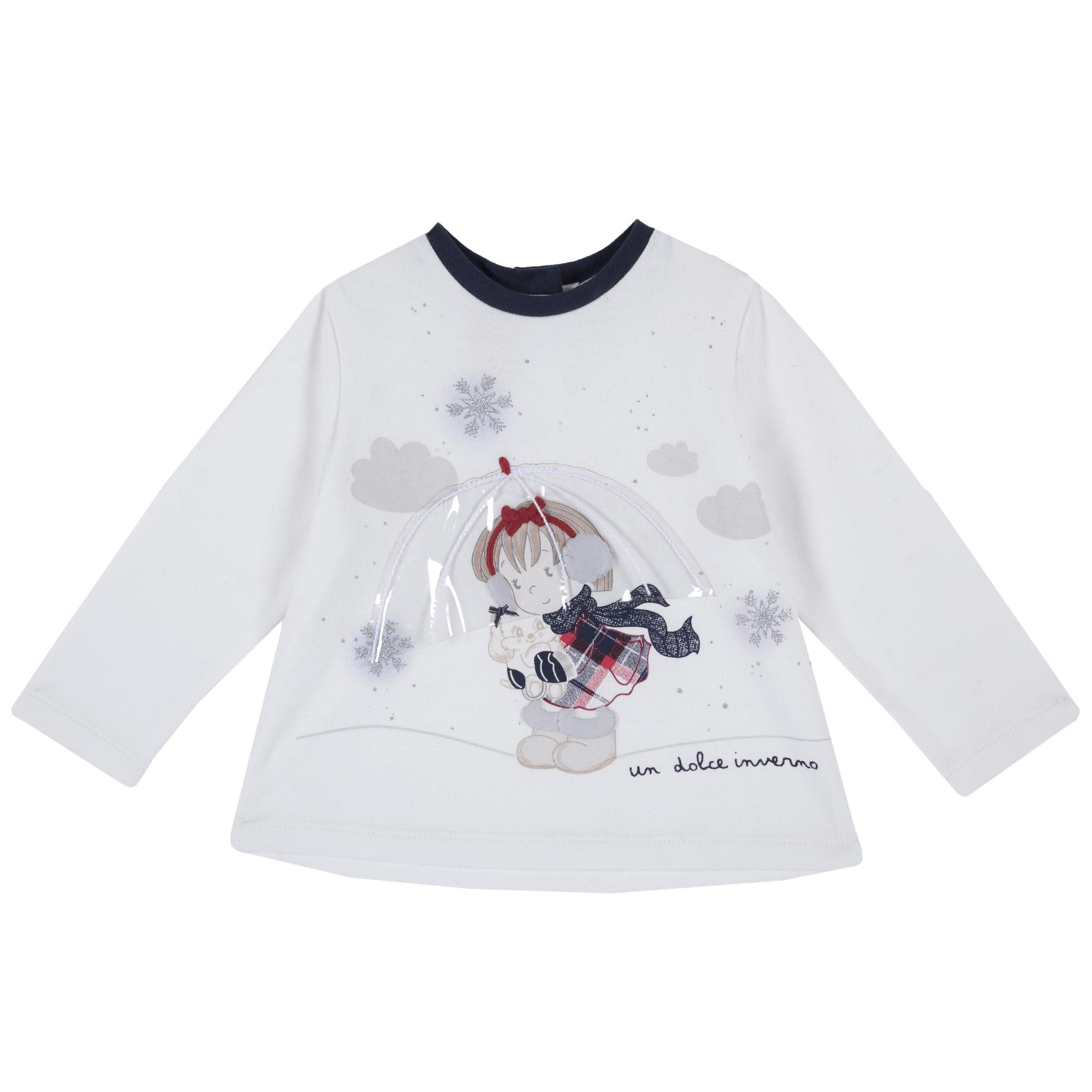 Tricou Copii Din Jerse Chicco, Maneca Lunga, Alb, 06789 imagine