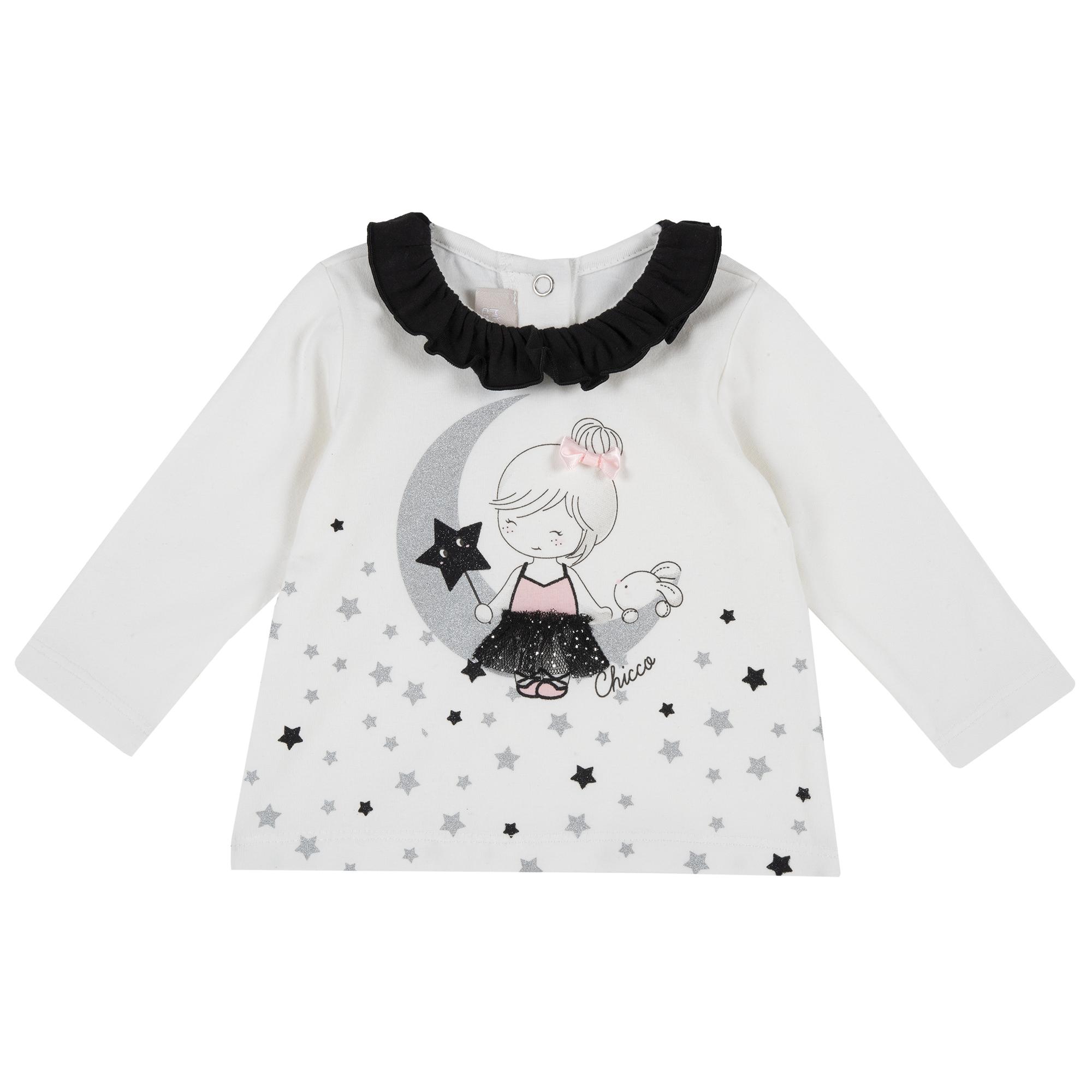 Bluza copii Chicco alb cu aplicatii decorative