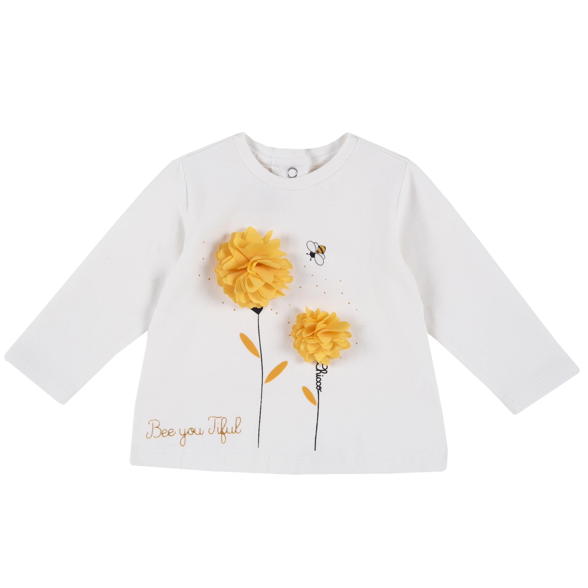 Bluza Copii Chicco, Alb Cu Model Floral, 47385 imagine