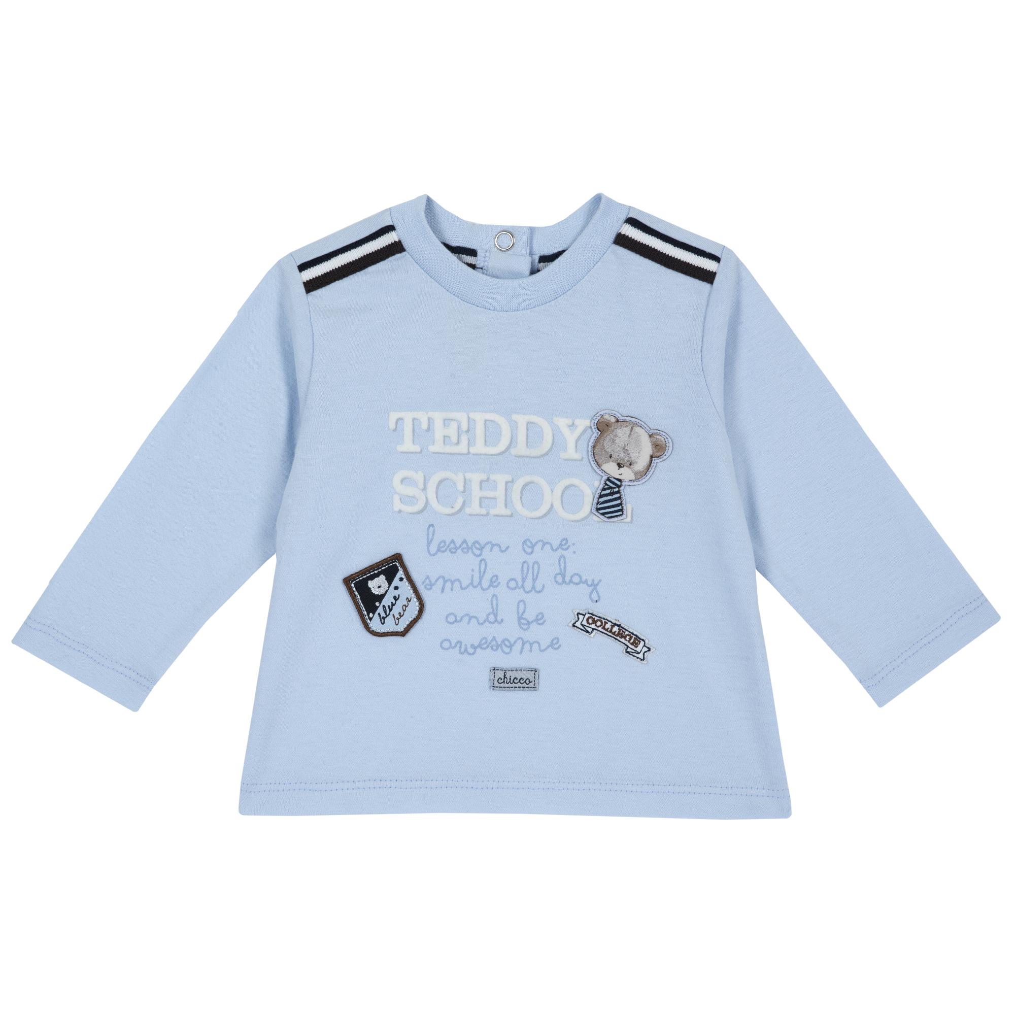 Tricou copii Chicco, maneca lunga, aplicatii cu ursuleti, albastru, 06780 din categoria Tricouri copii