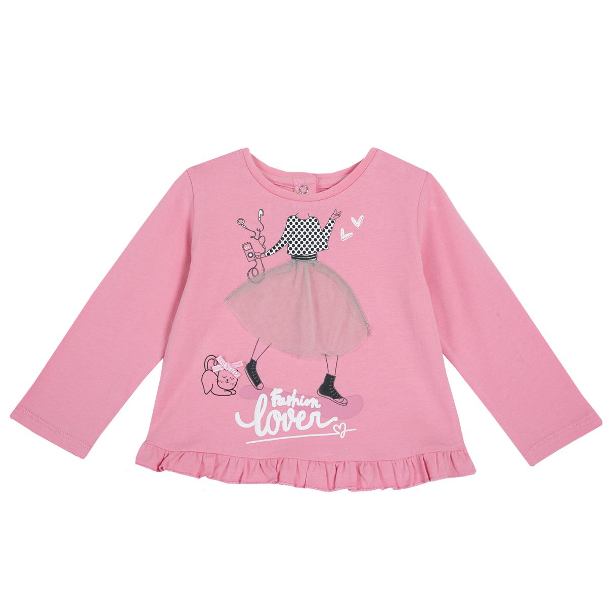 Tricou maneca lunga Chicco, imprimeu decorativ, roz, 06748 din categoria Bluze copii