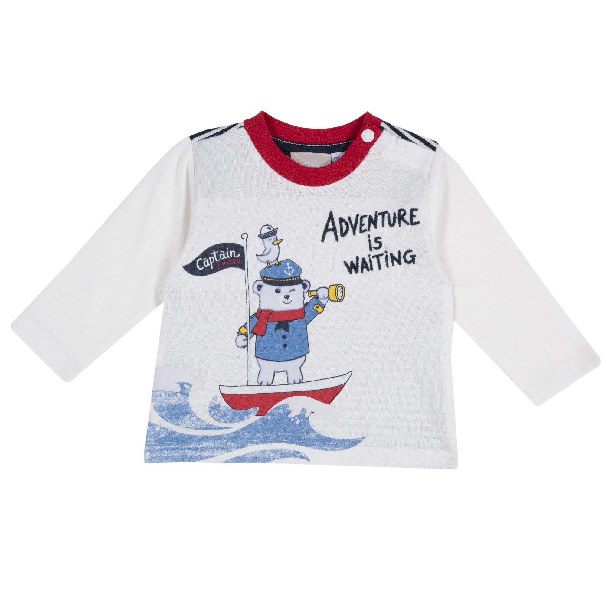 Bluza Copii Chicco, Alb, Imprimeu Vesel, 68688 imagine