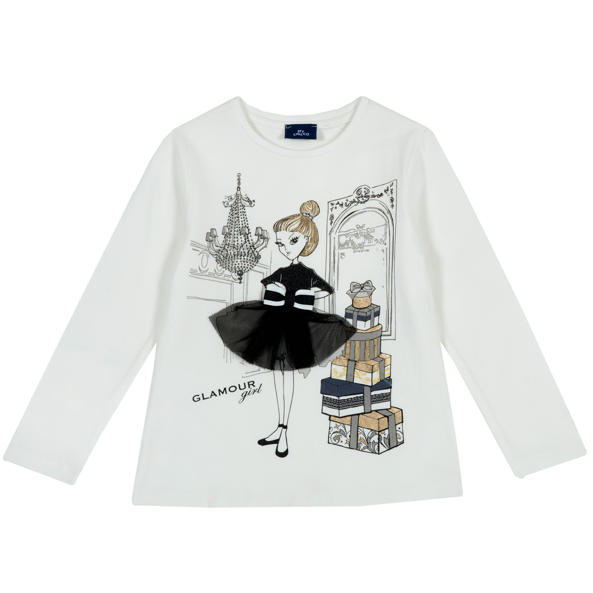 Tricou copii Chicco cu maneca lunga, alb. 06814 din categoria Tricouri copii
