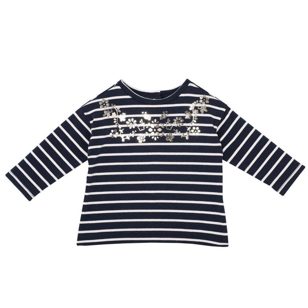 Tricou pentru copii, Chicco, maneca lunga, bleumarin