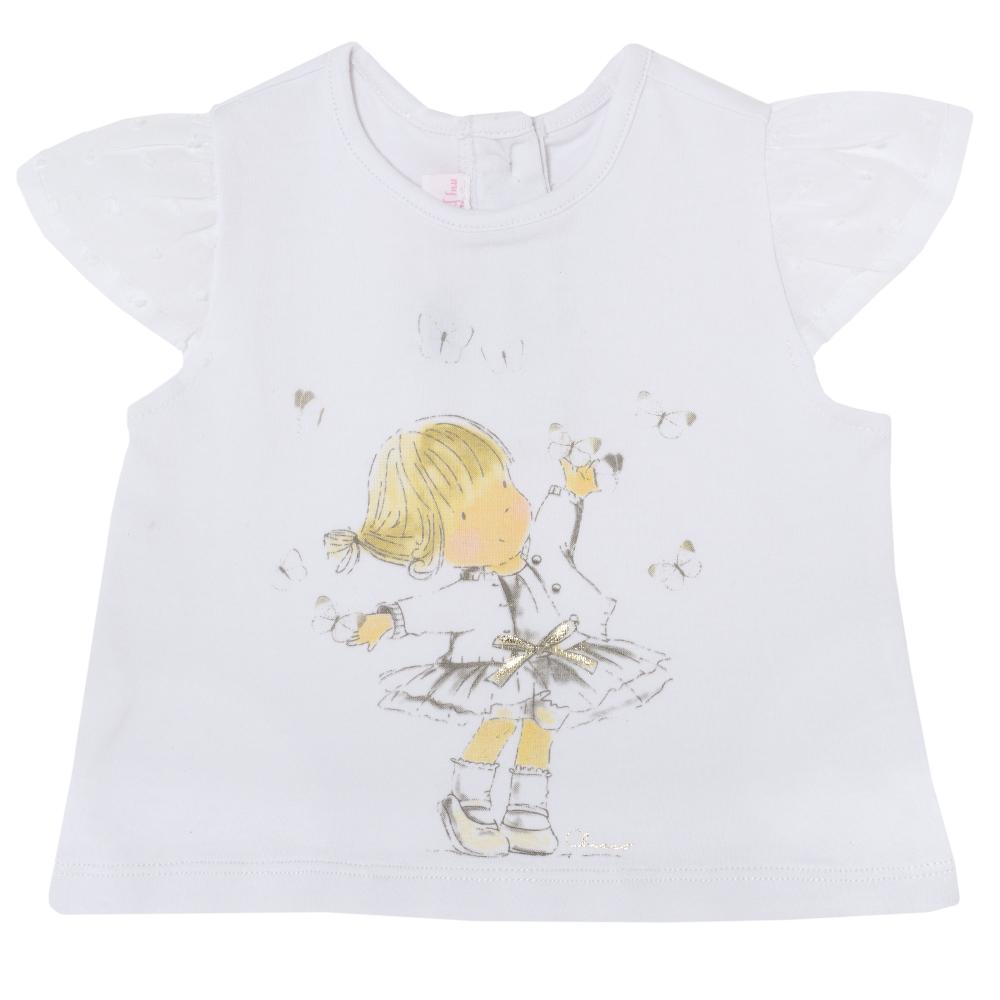 Tricou pentru fetite Chicco, alb, 61976