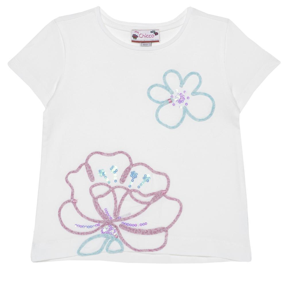 Tricou pentru fetite, Chicco, maneca scurta, alb cu model din categoria Tricouri copii