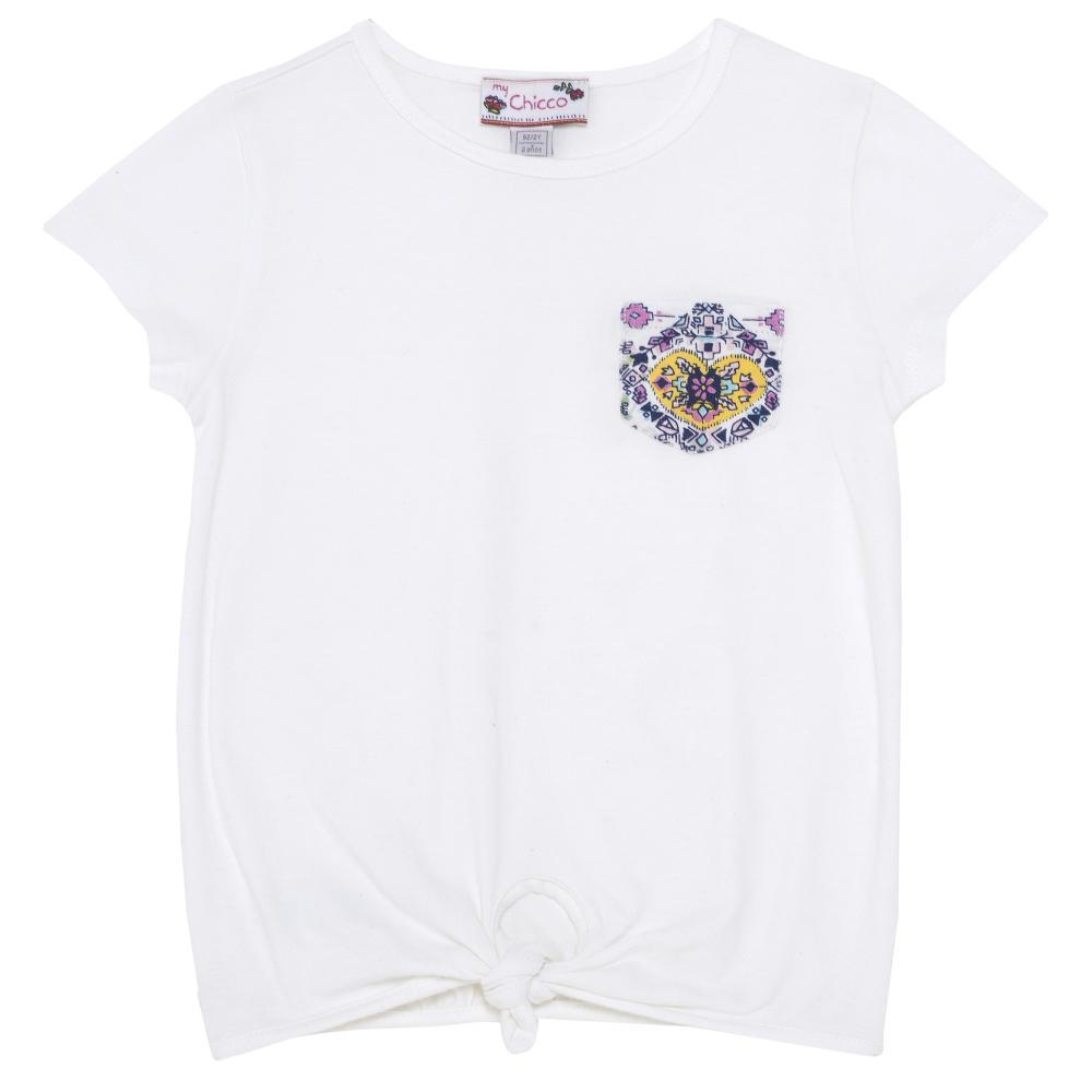 Tricou fetite Chicco, maneca scurta, alb cu model