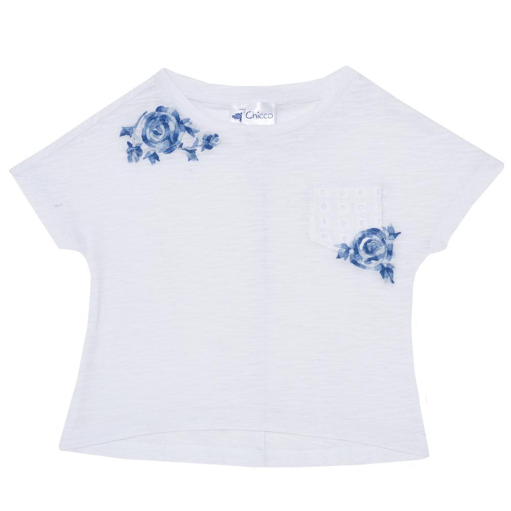 Tricou fetite Chicco, maneca scurta, alb, 06051