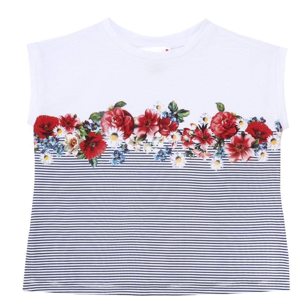 Tricou pentru copii Chicco, fetite, dungi si flori