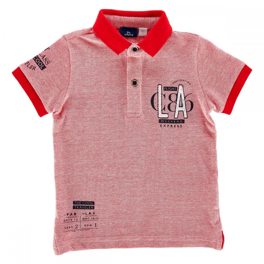 Tricou pentru copii Chicco, polo cu maneca scurta, rosu cu alb