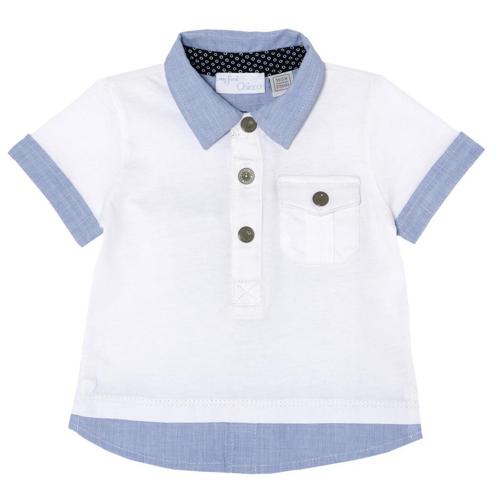 Tricou polo Chicco, baieti, maneca scurta, alb cu bleu din categoria Tricouri copii