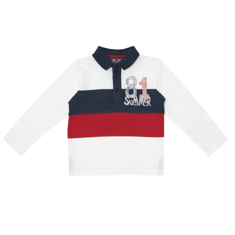 Tricou polo copii Chicco, baieti, maneca lunga, albastru cu rosu, 33370 din categoria Tricouri copii
