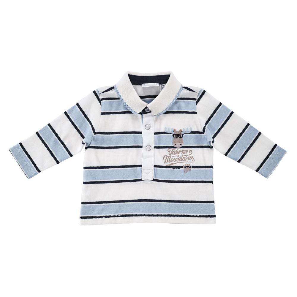 Tricou polo copii Chicco, maneca lunga, alb cu albastru din categoria Tricouri copii