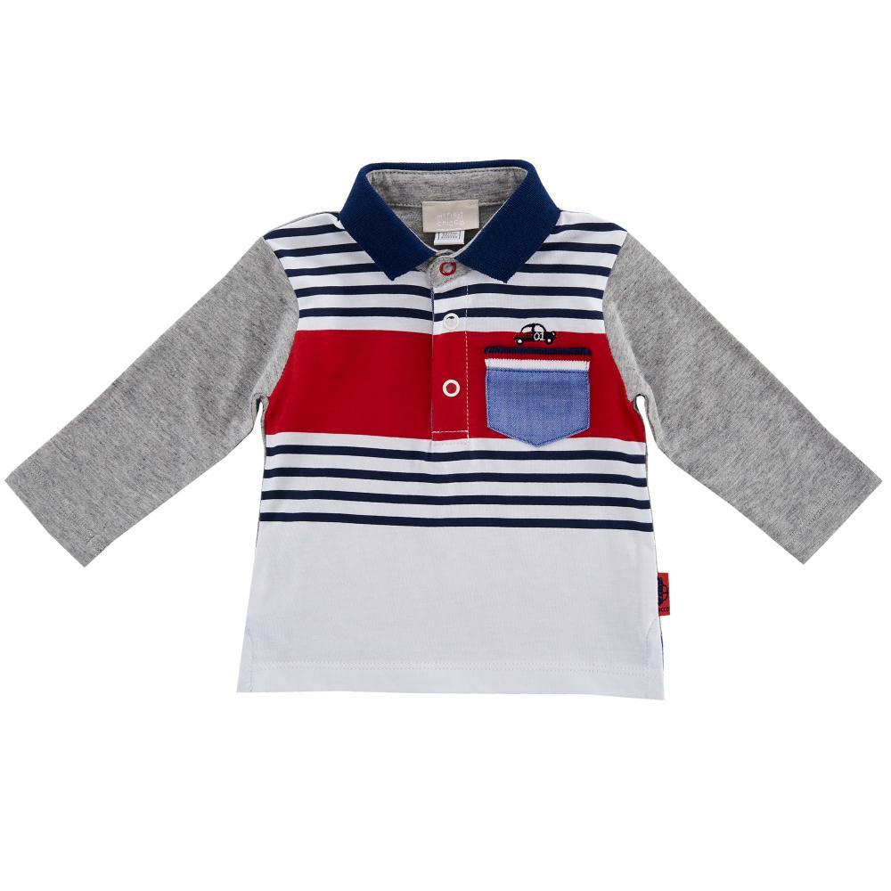 Tricou polo copii Chicco, alb cu bleumarin si rosiu din categoria Tricouri copii