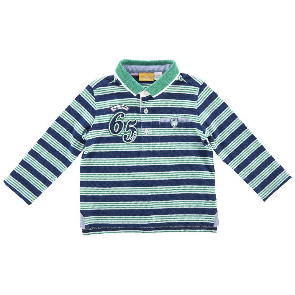 Chicco Tricou polo copii Chicco maneca lunga albastru cu dungi albe si verzi 98