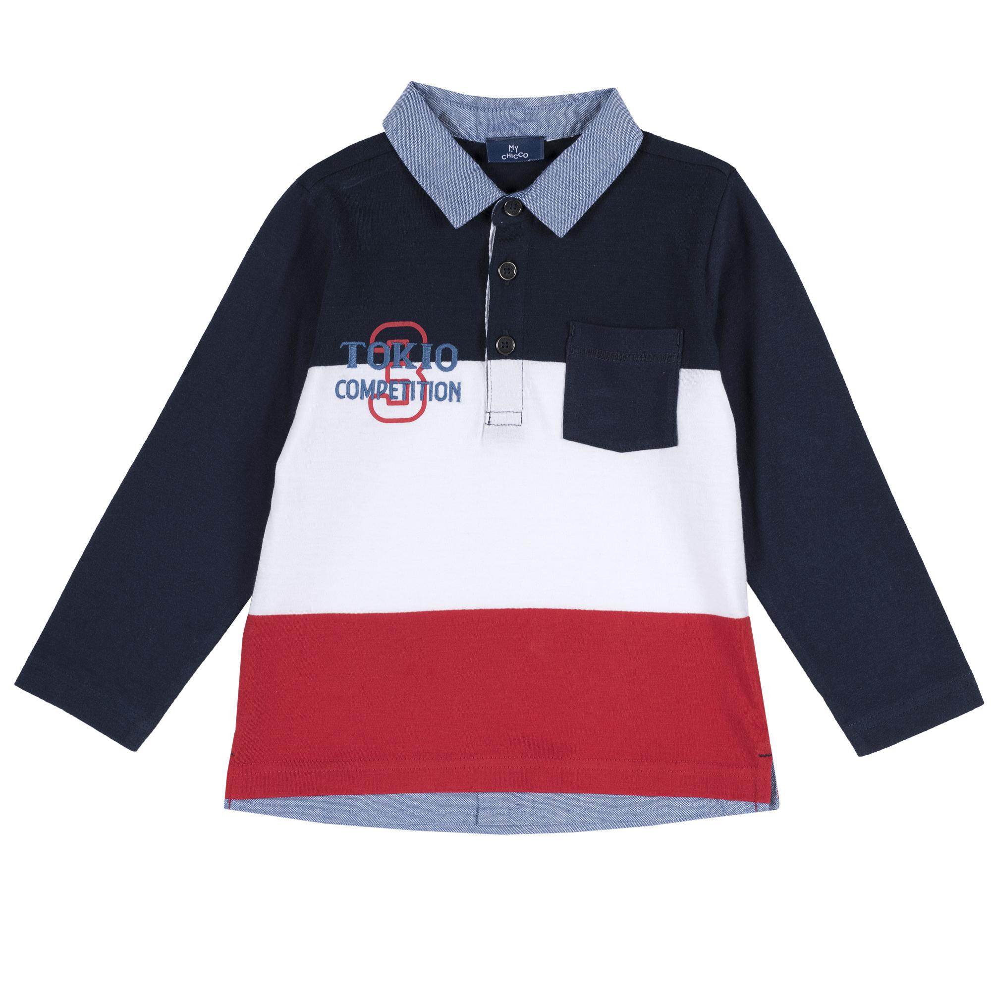 Tricou polo copii Chicco, maneca lunga, albastru inchis, 33487 din categoria Tricouri copii