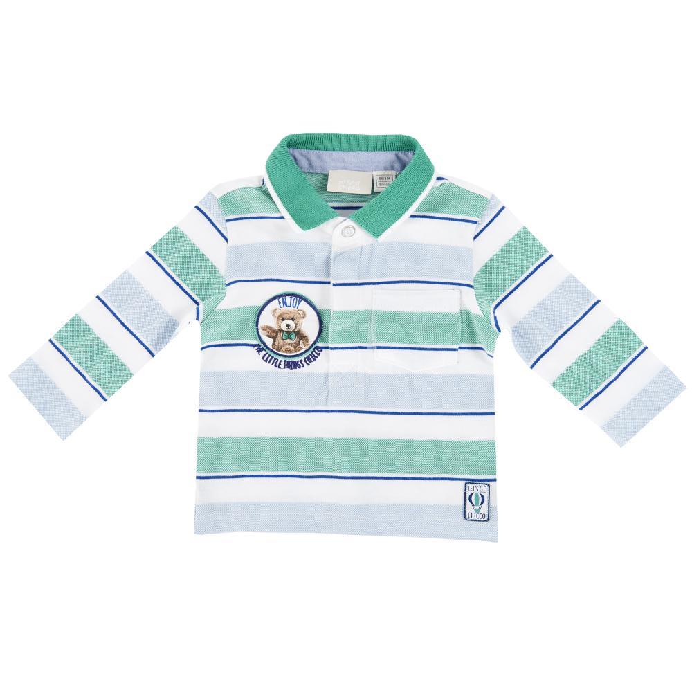 Tricou Polo Copii Chicco, Maneca Lunga, Bleu Cu Dungi Albe Si Verzi