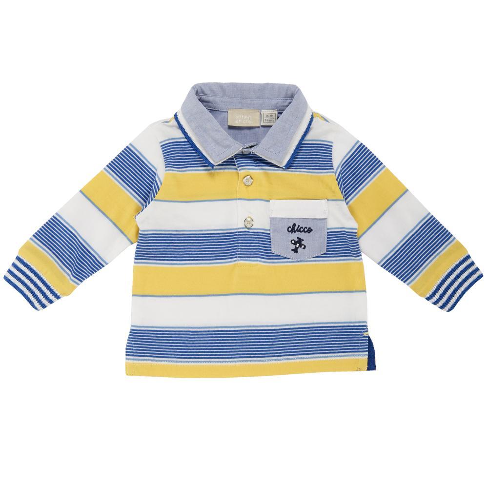 Tricou polo copii Chicco, maneca lunga, galben cu alb si bleu din categoria Tricouri copii