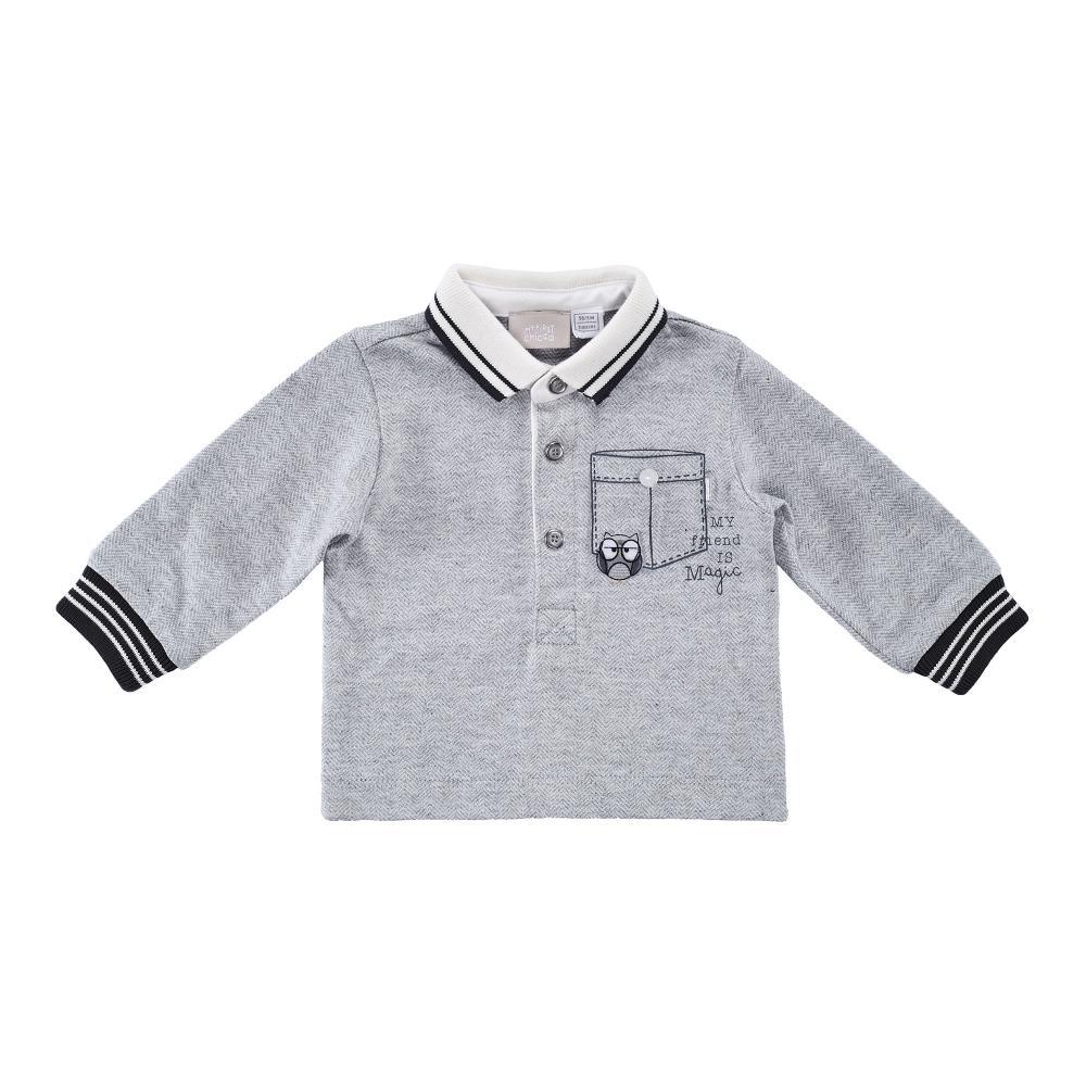 Tricou Polo Copii Chicco, Maneca Lunga, Gri Deschis
