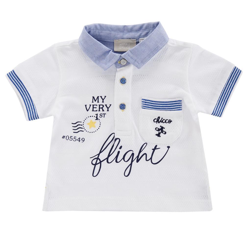 Tricou polo copii Chicco, maneca scurta, alb cu bleu din categoria Tricouri copii