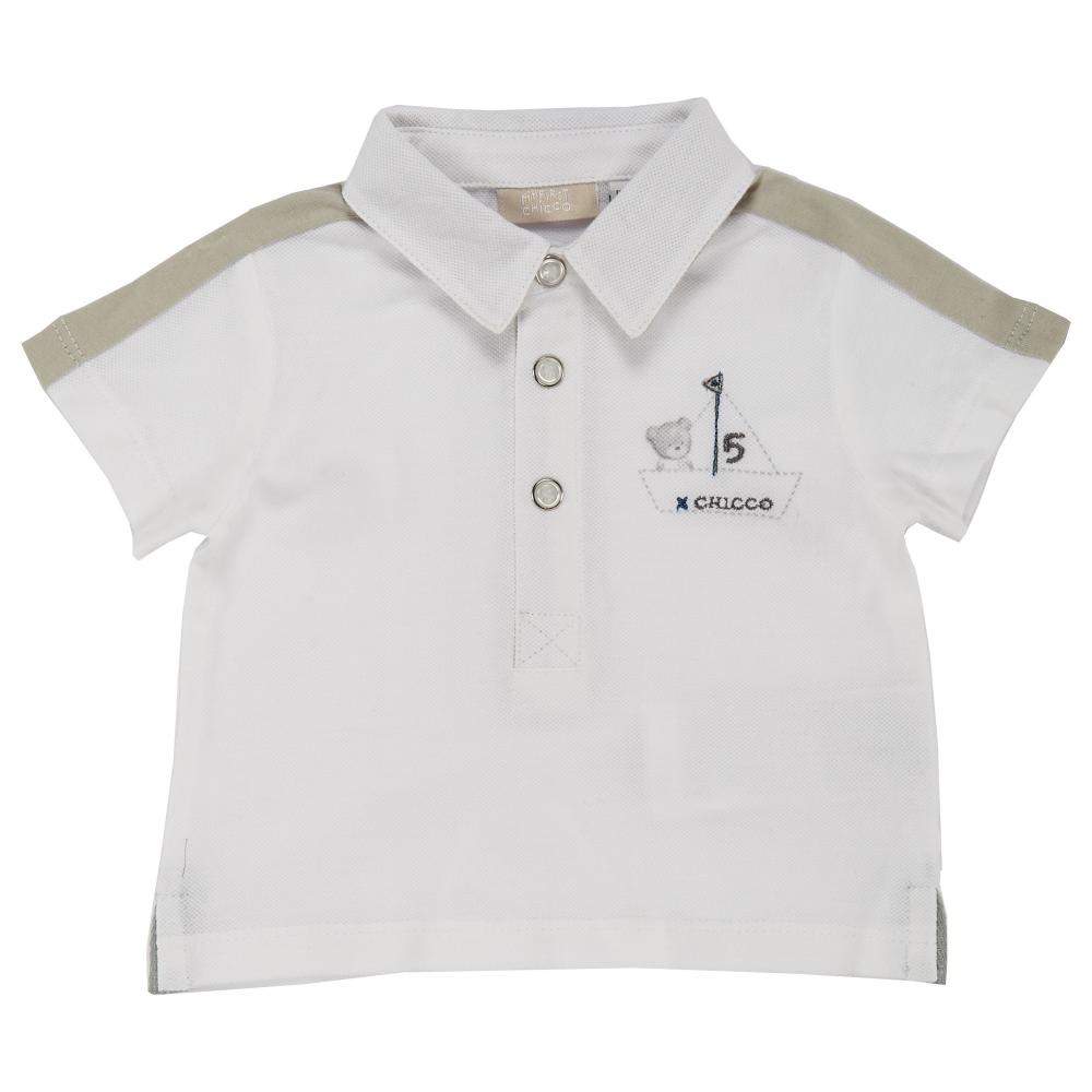 Tricou polo, maneca scurta, copii Chicco, baieti, alb