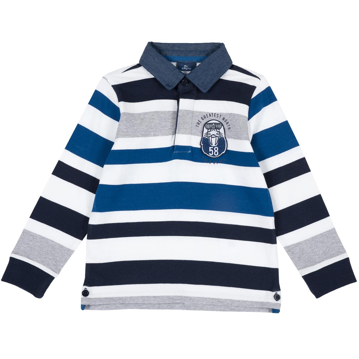 Tricou polo copii Chicco, maneca lunga, dungi albastre, 33520 din categoria Tricouri copii