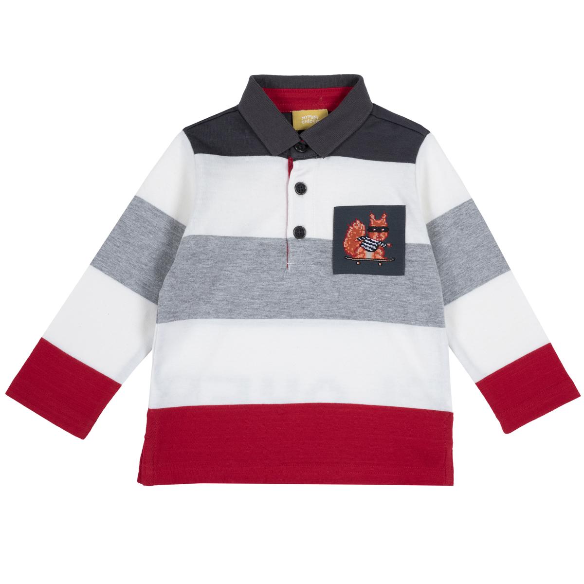 Tricou Polo Copii Chicco, Maneca Lunga, Alb Cu Dungi Colorate, 33512