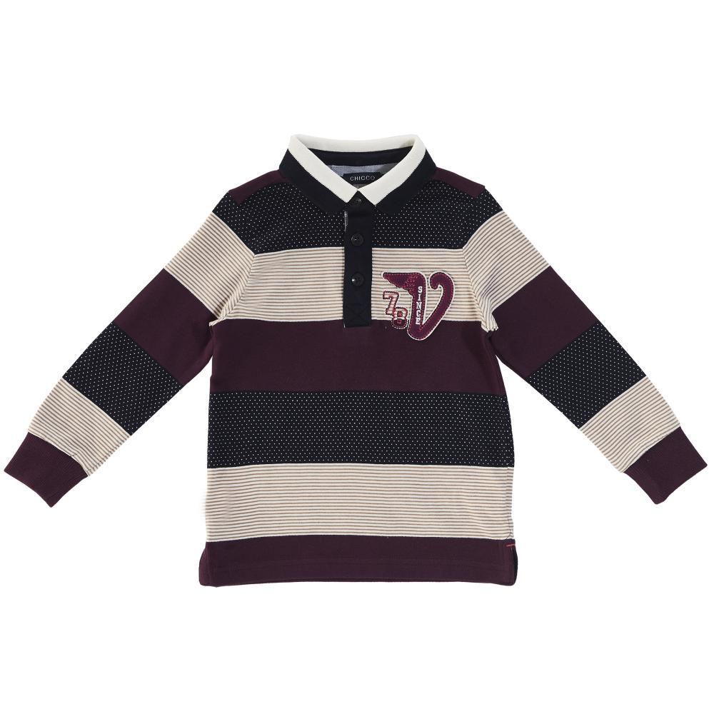 Tricoul polo copii, Chicco, visiniu multicolor