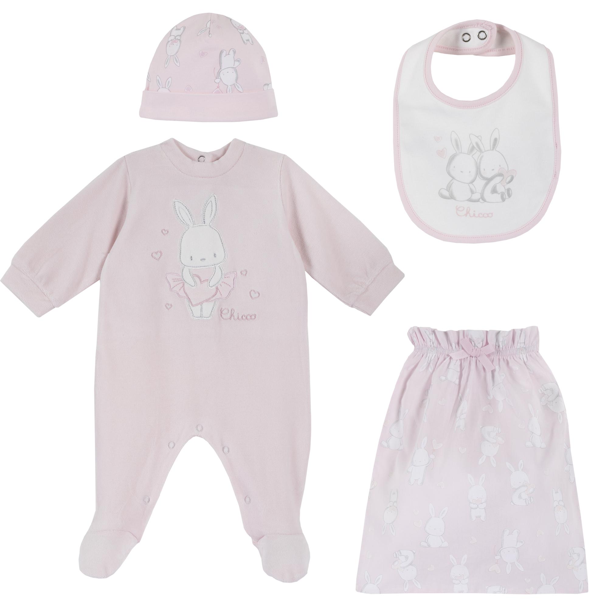 Trusou copii Chicco, salopeta + baveta + caciula, roz, 77966