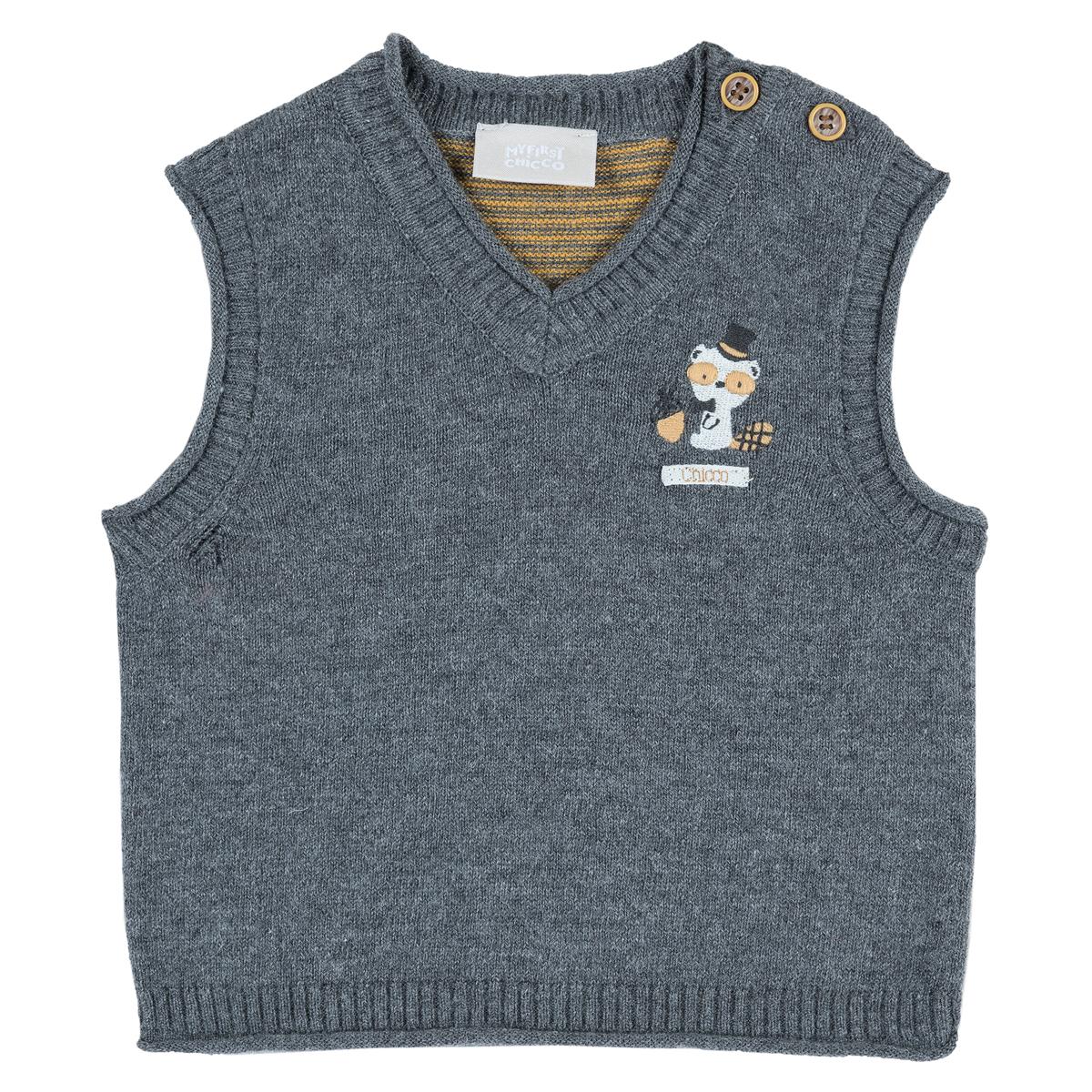 Vesta copii tricotata Chicco, gri inchis, 96893 din categoria Veste copii