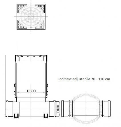 Camin de inspectie D315 1 intrare 1 iesire D160 cu capac fonta carosabil B125