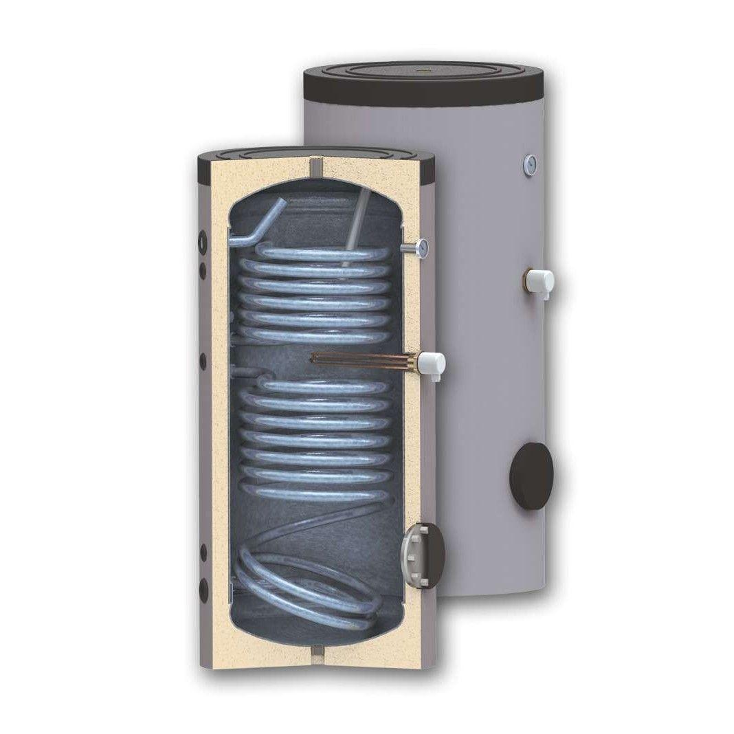 Boiler 200 litri cu 2 serpentine SUNSYSTEM SON 200, pentru centrala termica si solar, montaj pe sol, izolatie termica, manta de protectie , flansa de vizitare, emailat cu titan imagine fornello.ro