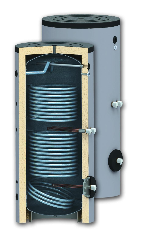 Boiler 400 litri cu 2 serpentine SUNSYSTEM SON 400, montaj pe sol, izolatie termica, manta de protectie , flansa de vizitare, emailat cu titan imagine fornello.ro