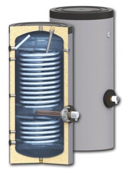 Boiler pentru sisteme cu termopompe Sunsystem SWP 2N 400 litri, cu doua serpentine, pentru conectarea la sisteme solare, de incalzire si sisteme cu pompe de caldura cu multi consumatori fornello imagine