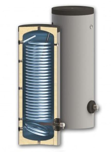 Boiler pentru sisteme cu termopompe Sunsystem SWPN L 400 litri, cu o serpentina, pentru conectarea la sisteme solare, de incalzire si sisteme cu pompe de caldura cu multi consumatori imagine fornello.ro