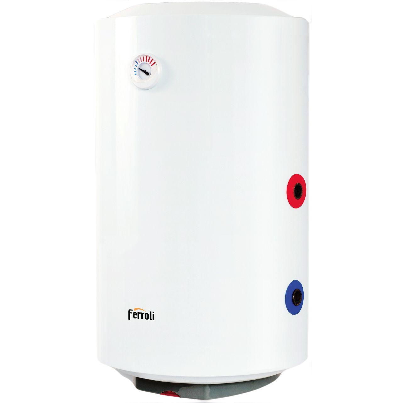Boiler termoelectric cu serpentina Ferroli Power Thermo 120V, 1500 W, 120 l, 0.8 Mpa, Alb imagine fornello.ro