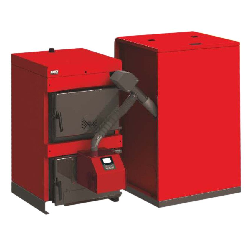 Centrala mixta lemn si peleti Sunsystem Burnit WBS 30 KW cu arzator Peleti Pell Eco 35 kw si buncar peleti 500 litri imagine fornello.ro