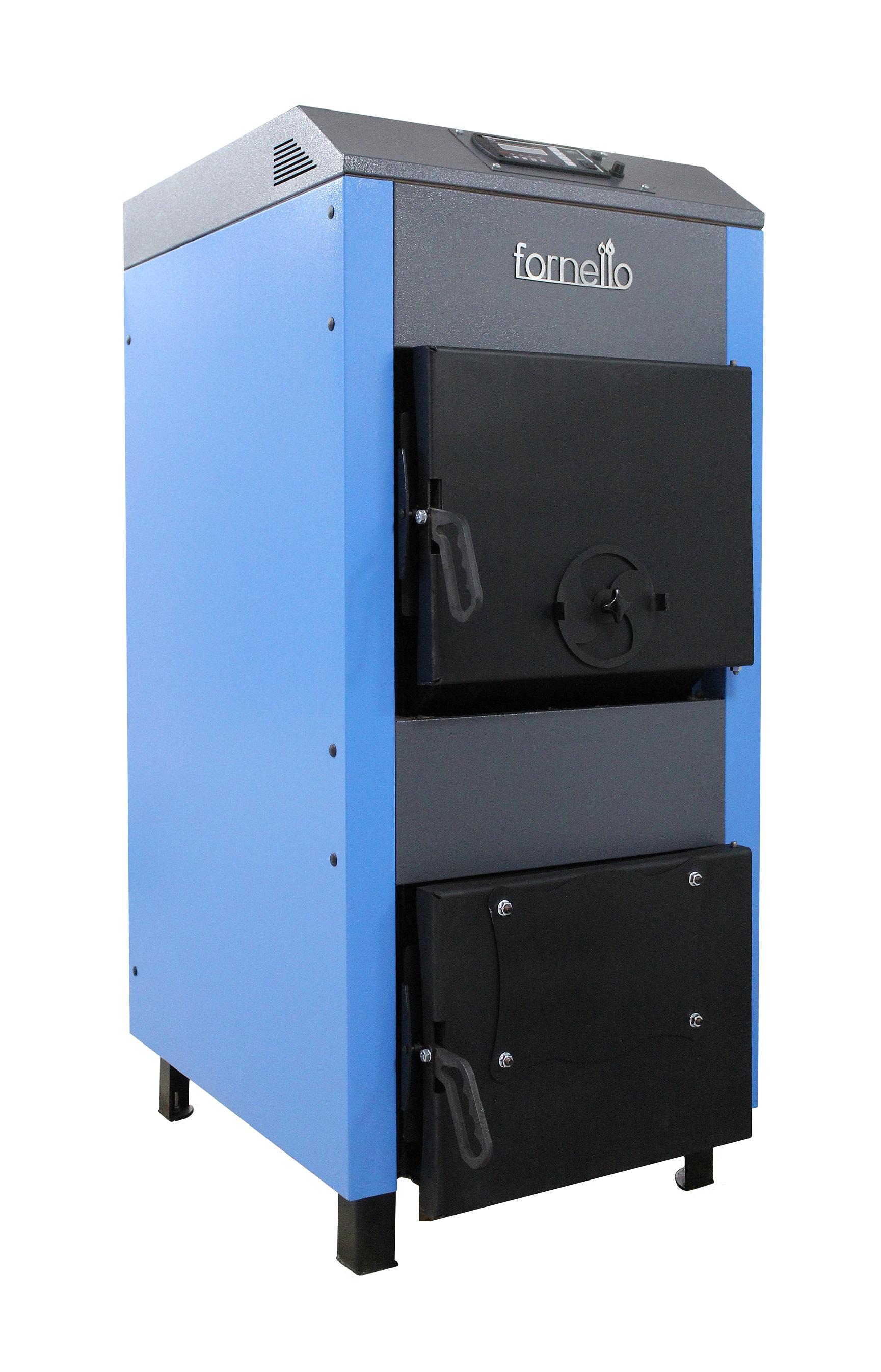 Centrala pe lemne, brichete si carbuni Fornello A 45 kW, cu ventilator si automatizare, serpentina de racire si flansa pentru arzator cu peleti imagine fornello.ro