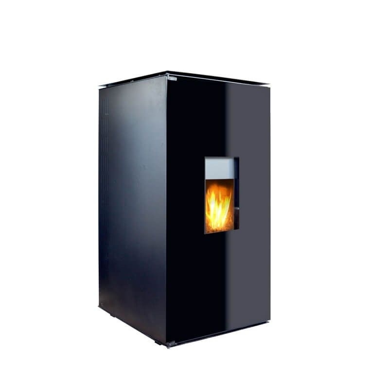 Termosemineu pe peleti cu agent termic Fornello 25 kW Black Glass Special Edition, complet echipat pentru incalzire cu pompa, vas expansiune, telecomanda, sticla neagra imagine fornello.ro