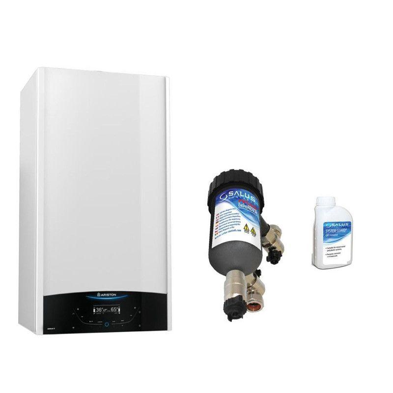 Centrala termica in condensare Ariston Genus One 24 EU 24 kW, kit evacuare si filtru antimagnetita Salus MD22A incluse, pentru o protectie sporita a centralei termice imagine fornello.ro