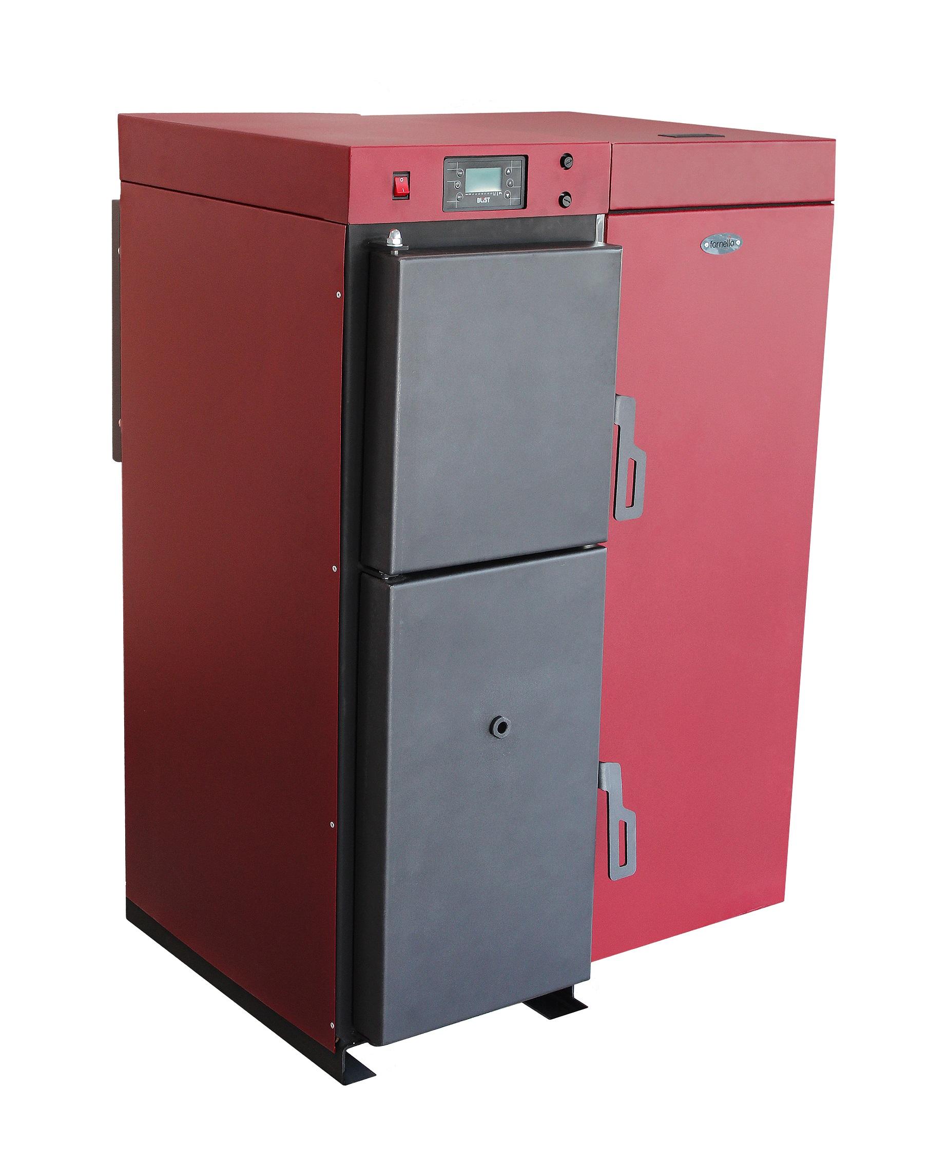 Centrala termica mixta lemn si peleti, Fornello Tera 28 KW, aprindere electrica peleti, fara modificari la schimbarea combustibilului, buncar 95 kg imagine fornello.ro