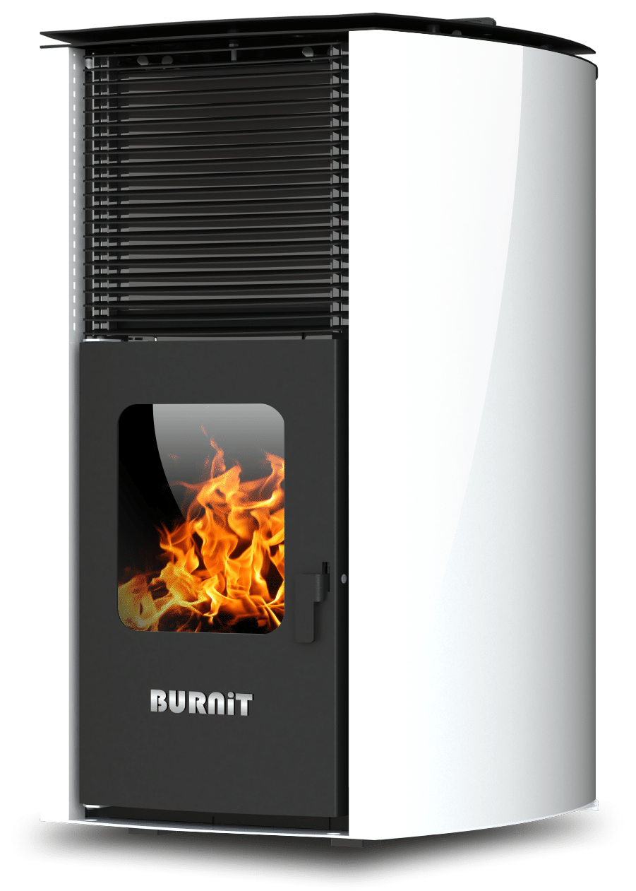 Centrala termosemineu pe peleti Burnit Advant 4G 25 kw, culoare white, echipata cu pompa de circulatie, vas de expansiune, automatizare, suprafata pana la 160 metri patrati imagine fornello.ro