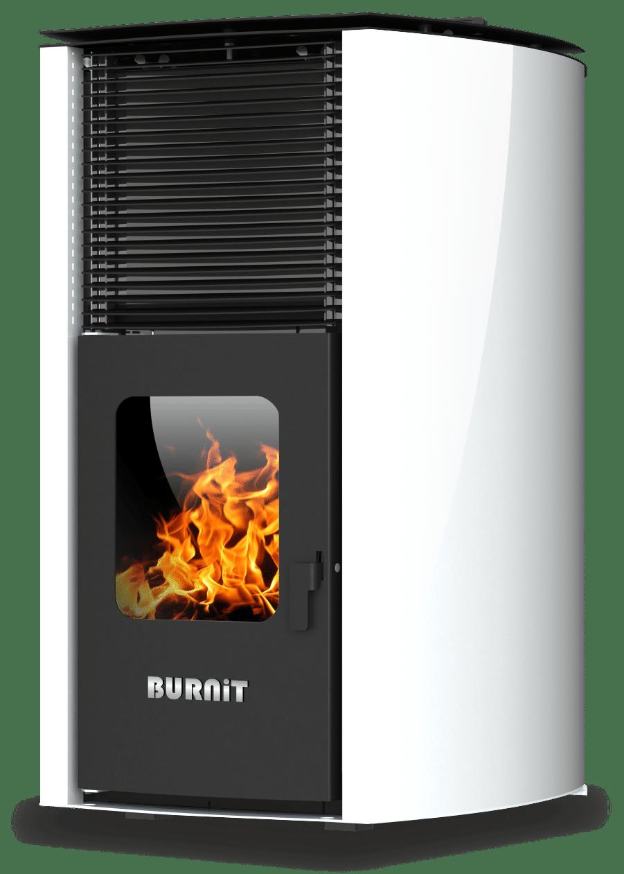 Centrala termosemineu pe peleti Burnit Advant V2 White 25 kw, echipata cu pompa de circulatie, vas de expansiune, automatizare, suprafata pana la 160 metri patrati imagine fornello.ro