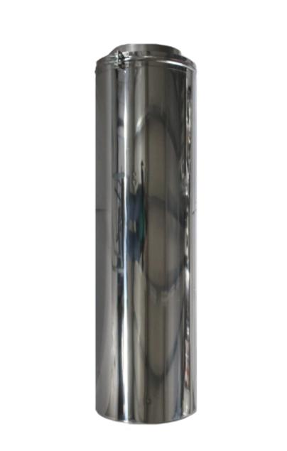 Element Tub inaltime 1 metru compatibil doar cu elemente de cos inox Fornello, dublu perete inox-inox, izolatie din vata bazaltica 40 mm, diametru interior 200 mm, pentru centrale pe lemn, carbune si peleti