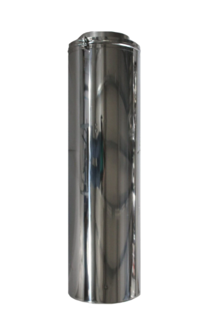 Element Tub inaltime 1 metru compatibil doar cu elemente de cos inox Fornello, dublu perete inox-inox, izolatie din vata bazaltica 40 mm, diametru interior 120 mm, pentru centrale pe lemn, carbune si peleti