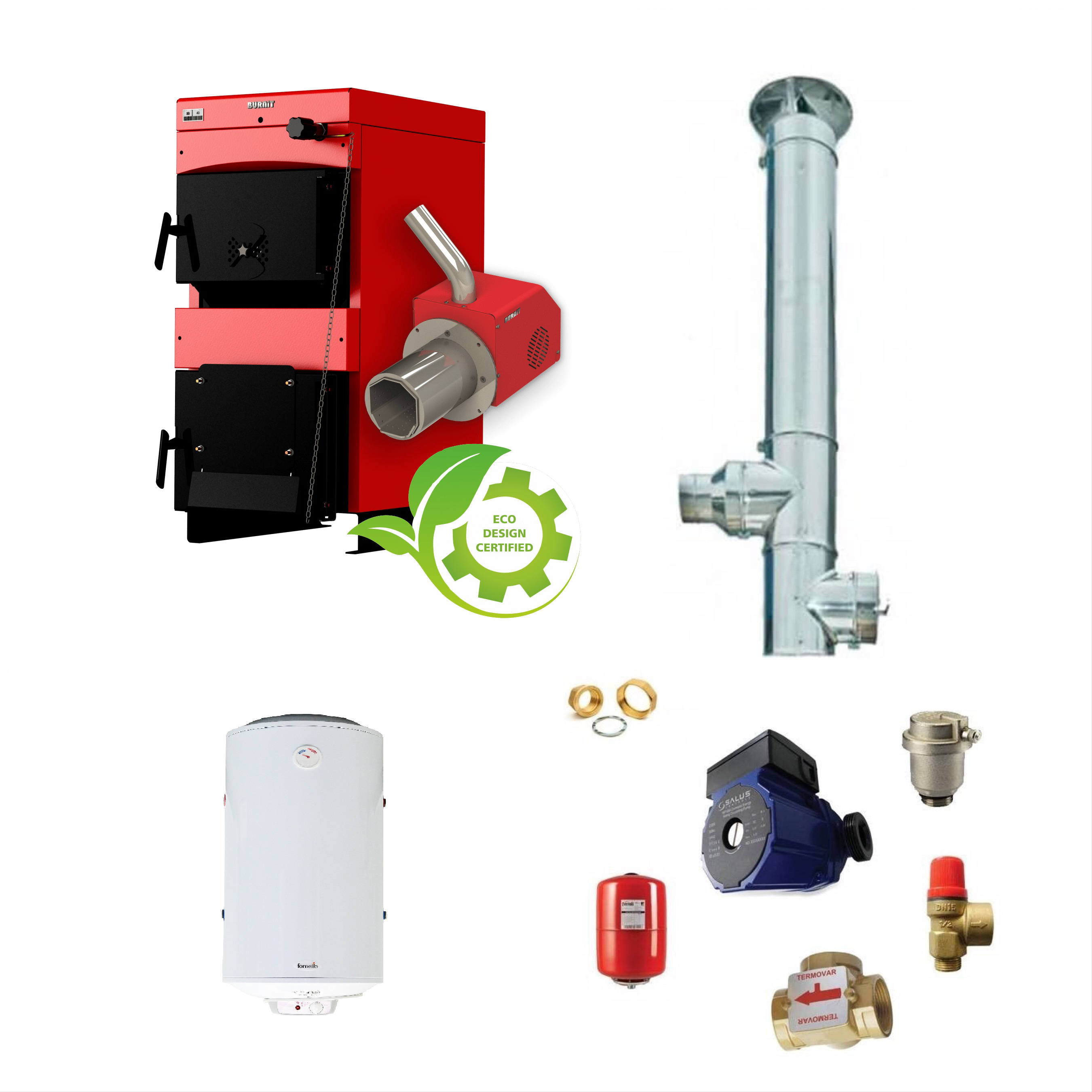 Pachet Centrala mixta lemn si peleti Burnit WBS 50 kW si Arzator pe peleti Pell Eco 35 kW, boiler Fornello 100 l, pompa 25-60, vas expansiune, supapa, aerisitor, termostat de contact, vana 3 cai, cos inox diametru 200 mm dublu perete, inaltime 6 metr fornello imagine