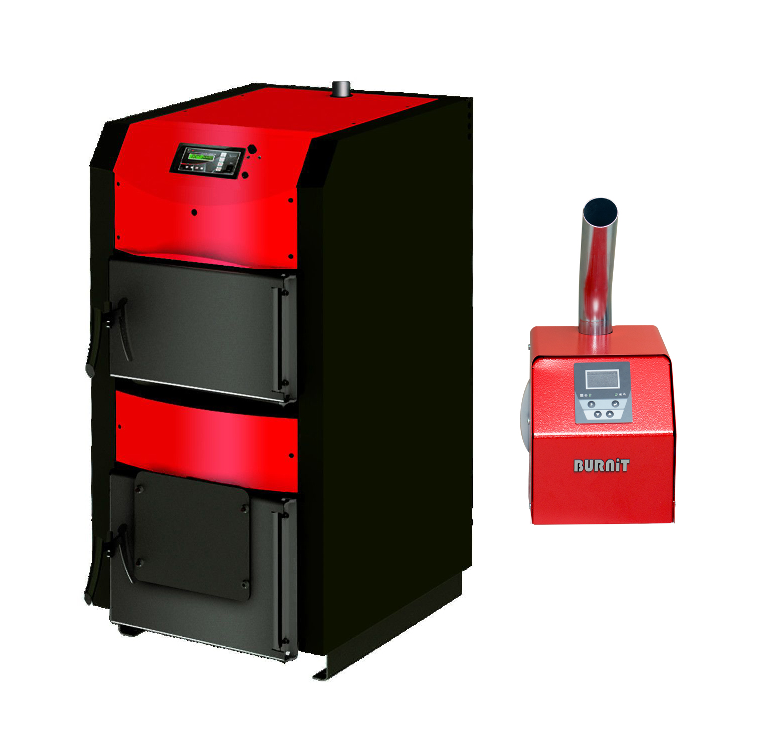 Pachet centrala mixta lemn si peleti Sunsystem Burnit WBS-ACTIVE 90 kw, cu ventilator, automatizare, si arzator Peleti Pell Eco 70 kw, snec, aprindere automata imagine fornello.ro
