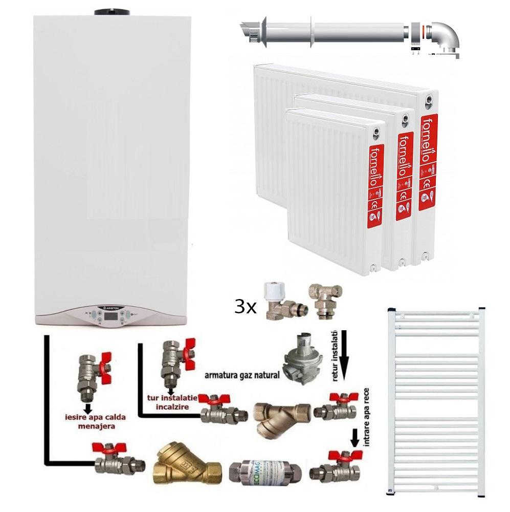 Pachet Centrala murala in condensare Ariston Cares Premium 24 kw, calorifere otel, kit armaturi centrala, robineti calorifer, pentru apartament cu o camera fornello imagine