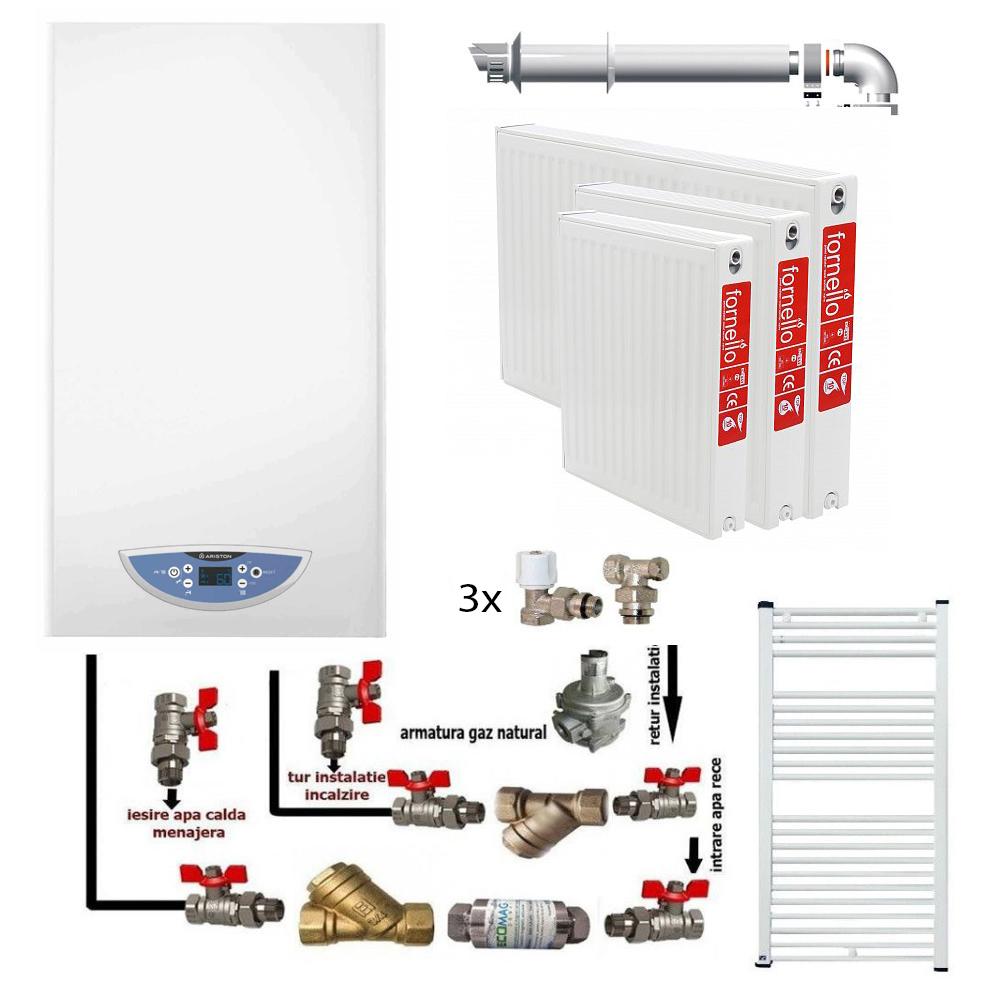 Pachet Centrala murala in condensare Ariston Matis Condens Plus 24 KW, calorifere otel, kit armaturi centrala, robineti calorifer, pentru apartament cu o camera fornello imagine